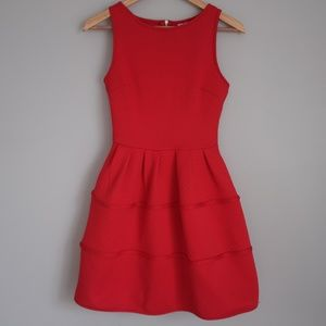 Alya Red Skater Dress with Piping in Skirt
